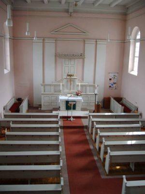Innenansicht evangelische Kirche Züsch